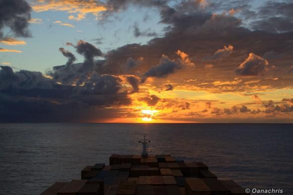 Sailing into the Sunset Atlantic Ocean