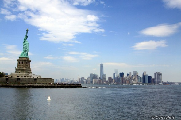 Statue of Liberty - Liberty Island and Manhattan in the background