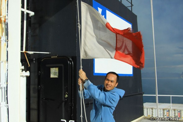 Hoisting the Pilot on board signaling flag