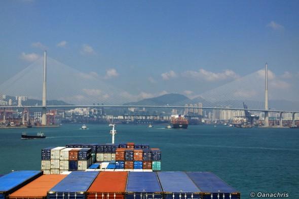 Approaching Stonecutters' Bridge Hong Kong
