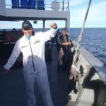 Fishing lapu-lapu in San Antonio Este anchorage