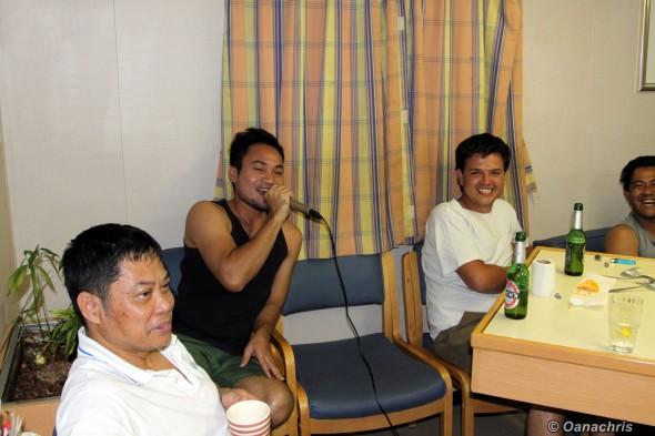 Karaoke party in Crew Recreation Room
