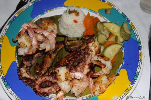 Octopus and schrimps grilled Villa Rica Restaurant Veracruz