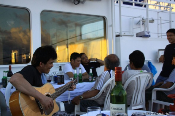 Party with karaoke and guitars on board HS Bach