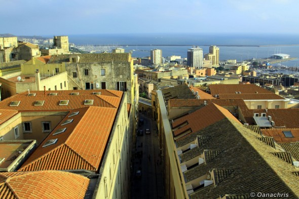Cagliari - narrow streets view from Torre del Elefante