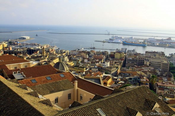Cagliari - view towards the port - Torre del Elefante
