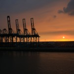 Sunset in the port of Anvers