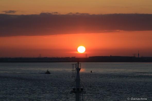 Sunset on Mass River approaching Rotterdam