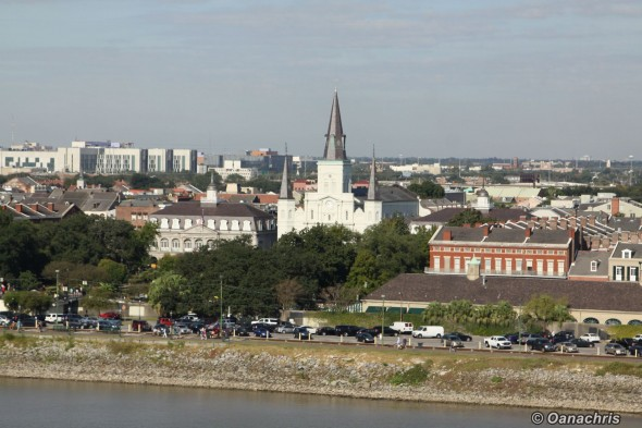 New Orleans, St Louis Cathedral view over the River
