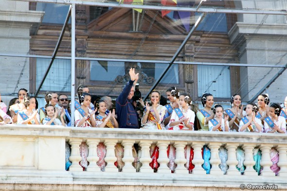 Falleras in the balcony of City Hall Feria de Falles Valencia