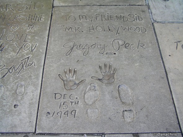 Handprints and footprints in front of Chinese Theatre Hollywood