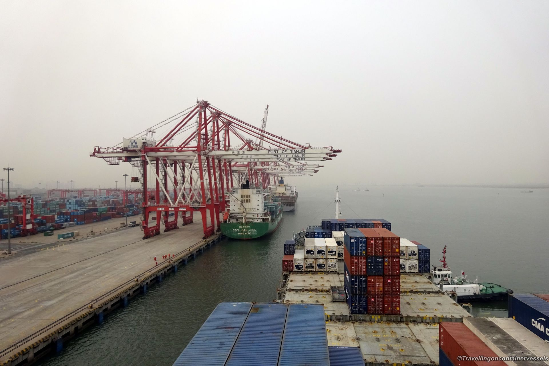 Entering The Port Of Tianjin China Travelling On Container Vessels